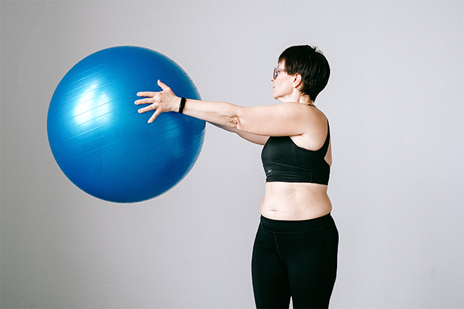 Woman using a exercise ball